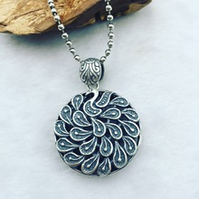 Folk Style Sterling Silver Genuine S925 Silver Peacock Silver Pendant Medallion Pendant Chain sweater factory direct