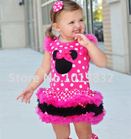 Children Girl Minnie Mouse Dresses Hot Pink/White Polka Dot Layered Dress Girl Birthday Party Dresses