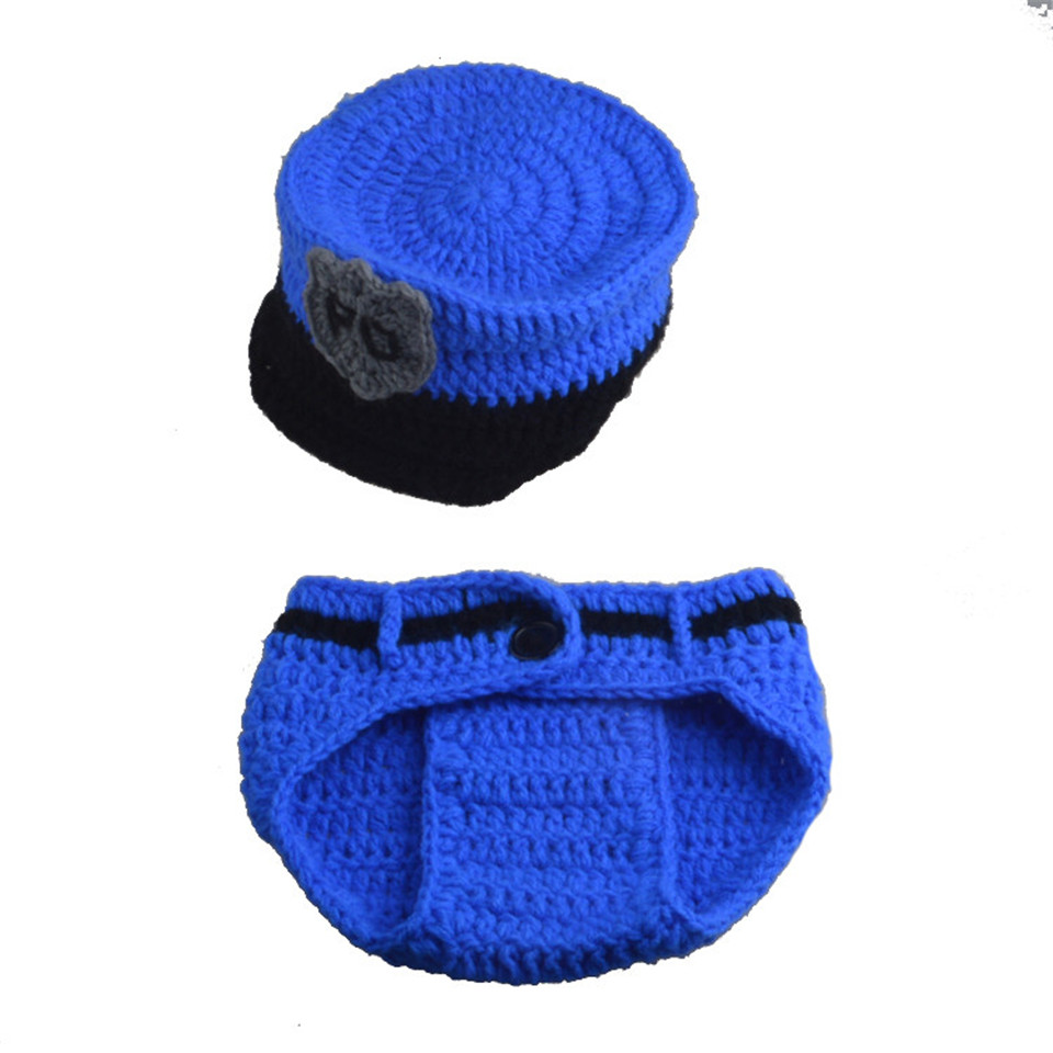 Crochet Newborn BABY Police Outfits Knitted BABY Police Hat Diaper Set with  Handcuffs Newborn Shower Gift 1set MZS 15067 J-in Hats   Caps from Mother    Kids ... 278148baca0