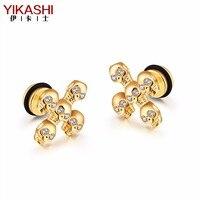 YIKASHI Retro Skull Cross Cross Diamond Earrings Punk Style Personality Men S And Women S Fashion