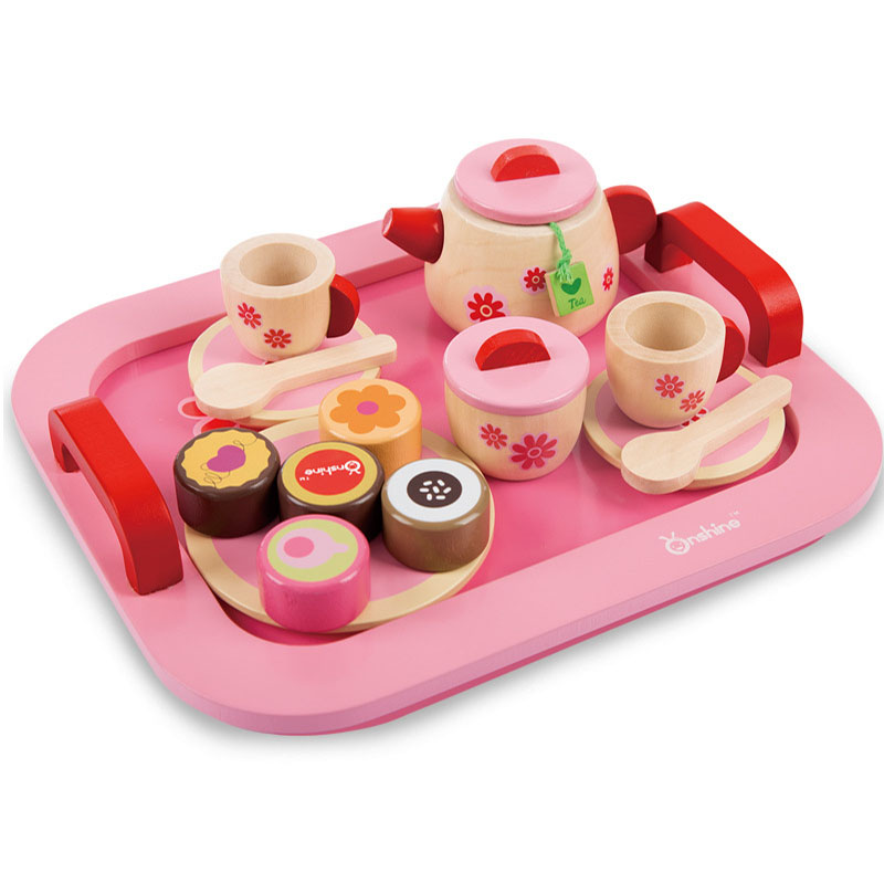 Girls Pretend Wooden Toys Kitchen Afternoon Tea Set with Wooden Toy Bread Cakes Sweet for Doll House Education Birthday Present cooked tea cake seven yunnan tea cakes pu er tea cakes cooked