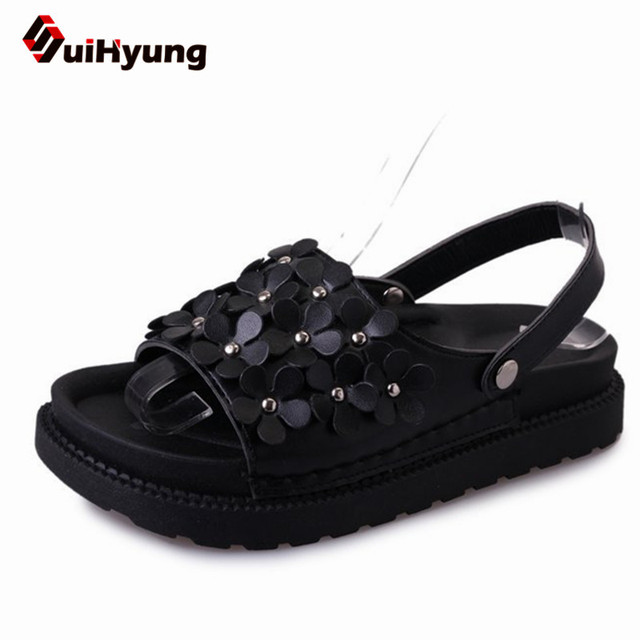 ace8232b4fdf Suihyung Female Summer Shoes Flat Fashion Design Women Summer PU Leather  Sandals Flowers Slippers Beach Flip Flops Ladies Slides