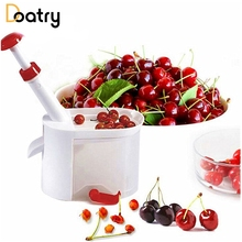 1pcs Novelty Super Cherry Pitter Plastic Cherries Corer Fruits Stone Remover Machine Cherry Corer With Container Kitchen Gadget