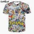 2016 Letskeep Мужские 3D аниме Покемон Идут майка мультфильм Пикачу плюс размер футболки мужская дышащая футболка homme S-3XL, MA174