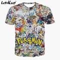 2016 Letskeep Mens 3D anime Pikachu Pokemon Ir t camisa de la historieta más el tamaño camisetas unisex homme camiseta transpirable S-3XL, MA174
