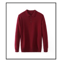 Autumn And Winter Turn down Collar Cashmere Sweaters Casual Lapel Sweater Fashionable Men's Solid Sweater