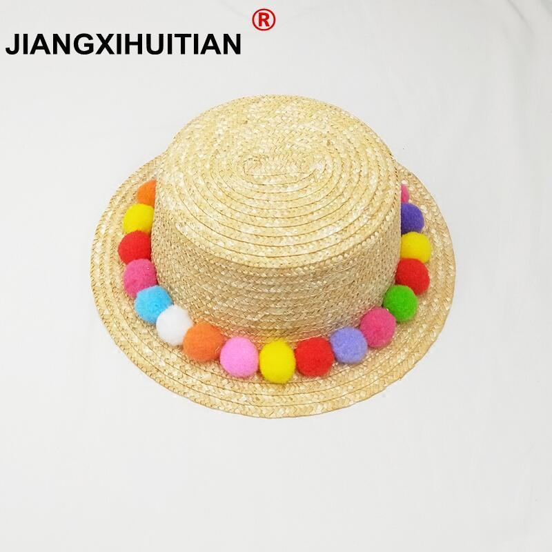 Parent-child Sun Hat Cute Children Sun Hats Colorful Balls Hand Made Women Straw Cap Beach Big Brim Hat Casual Girls Summer Cap