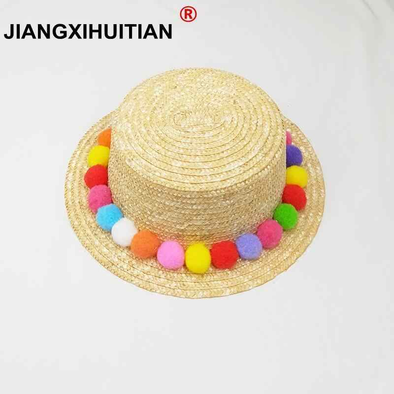 Parent-child sun hat Cute children sun hats Colorful balls hand made women  straw cap 31ca0c65c0f2