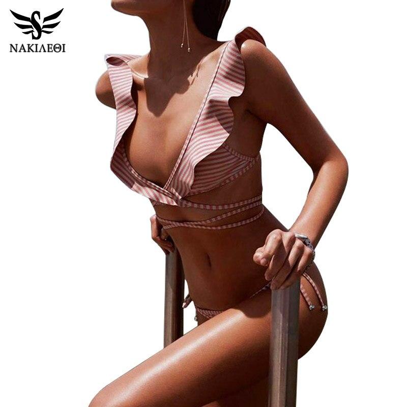 NAKIAEOI 2019 Newest Sexy Bandage Bikini Ruffle Swimwear Women Swimsuit Brazilian Bikini Set Striped Print Bathing Suits Biquini