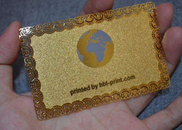 HBL PRINT METAL CARD CUTOUT PATTERN GOLD PLATED COLOR