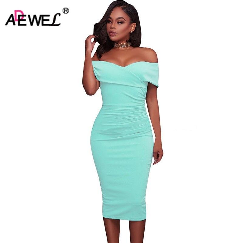ADEWEL Women Sexy Off Shoulder Strapless Midi Dress Ruched Elegant Bodycon Dress Party Clubwear Pencil dress