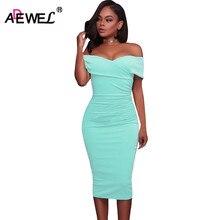Adewel Для женщин сексуальная с плеча без бретелек платье миди Ruched элегантный облегающее платье вечерние клубная одежда платье карандаша