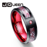 8MM black red ring man silver dragon pattern red carbon fiber 100% tungsten ring full size 7 8 9 10 10.5 11 12 13 14 15 16