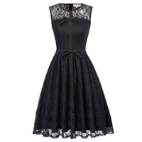 Womens Summer Lace Dress Black Vintage Embroidery O Neck Sleeveless With Bow PinUp Sexy Rockabilly Vestidos