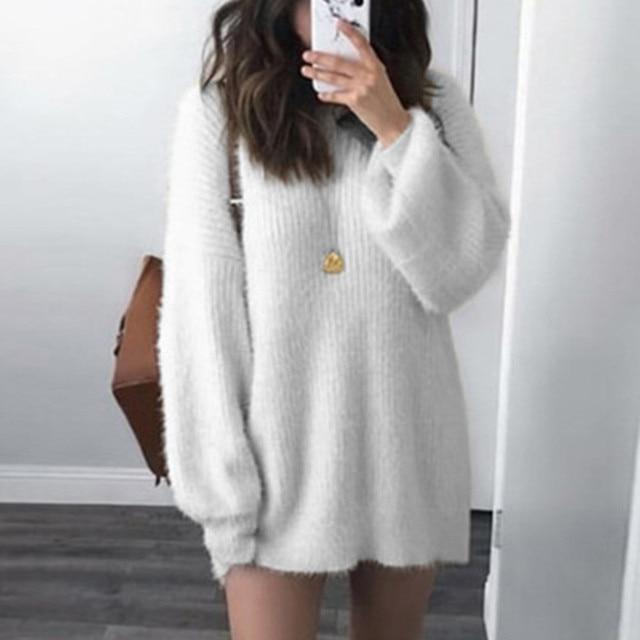 Suéter de punto de manga larga de talla grande 5XL para mujer cálido  invierno largo grueso e960afdef323