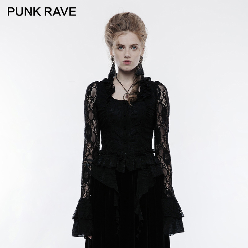 PUNK RAVE Gothic Gorgeous Falbala Collar Transparent Lace Sleeve Fitted Elastic Women Shirts Flowing Hem Lady Blouses Shirt