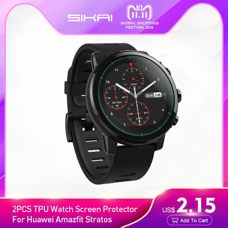 SIKAI New 2PCS TPU Watch Screen Protector For Huawei Amazfit Stratos Pace 2 /2S Lite Smart Watch Screens Guard Protector Film crystal clear lcd screen protector film cover for ipegtop z26 smart phone
