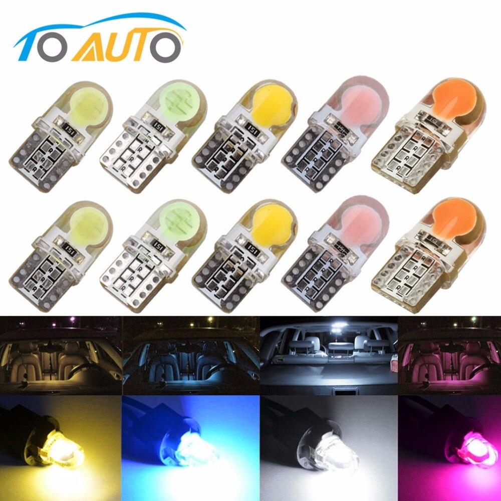 10x T10 194 168 W5W COB 8SMD Car Dome Light 12V LED CANBUS Silica Bulbs White