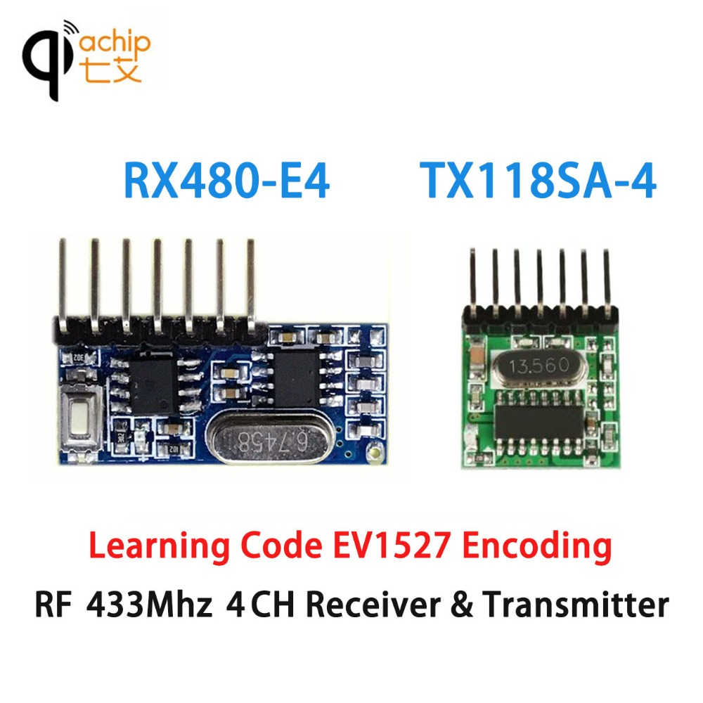 Qiachip 433mhz Rf Receiver Transmitter Learning Code 1527 Circuit Diagram Superheterodyne Wireless Module 4ch 43392 Mhz Remote Control Ev1527 In Controls From