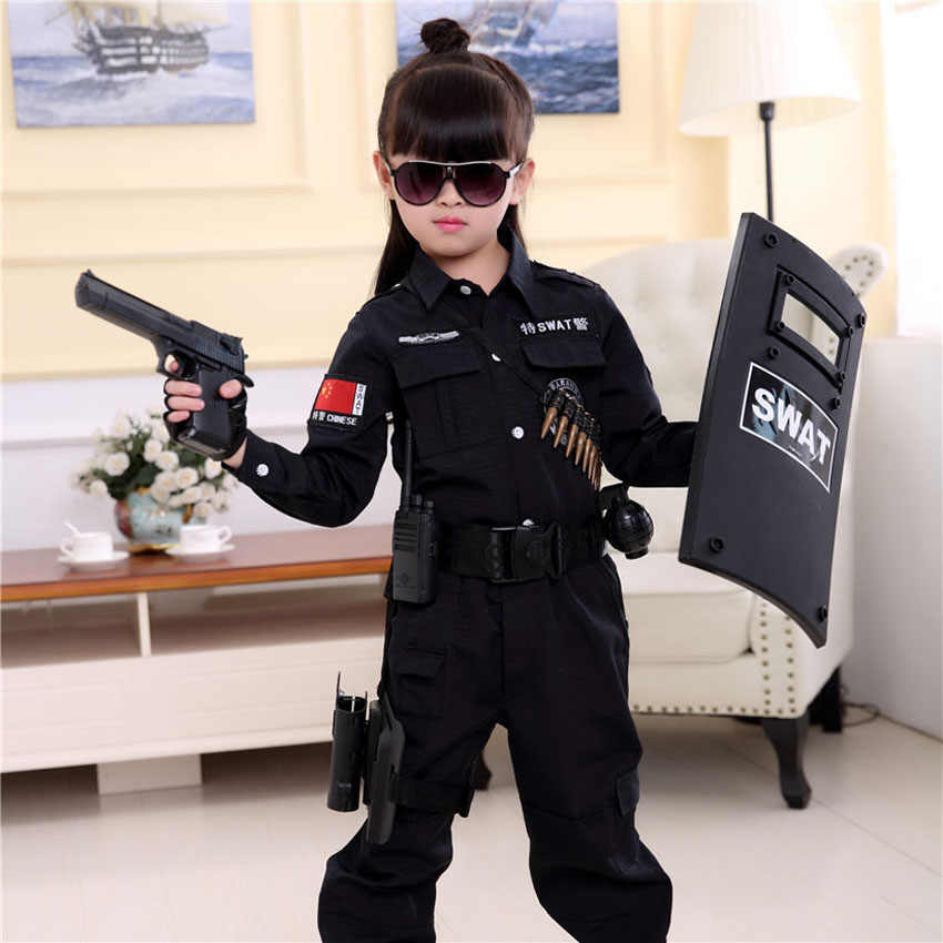 2019 Halloween Fancy Special Force SWAT Military Uniform Children Policemen  Cosplay Costumes Tactical Training Clothing Set