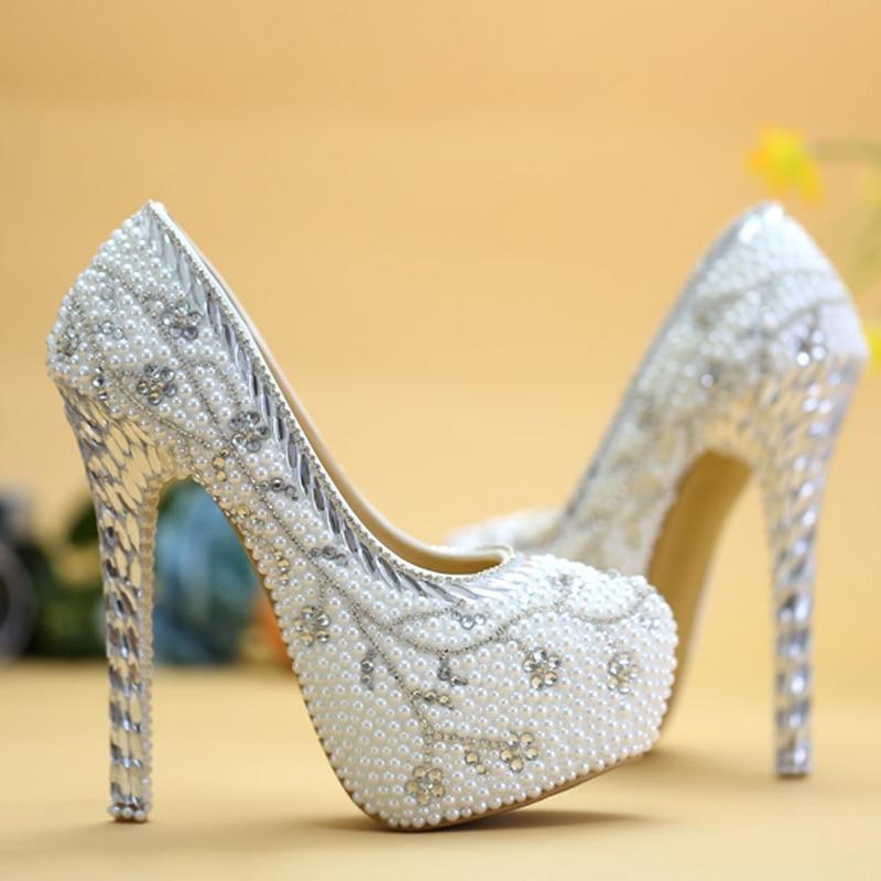 2018 zapatos de boda de diamantes de imitación de lujo con tacón blanco hecho a mano de cristal - 5