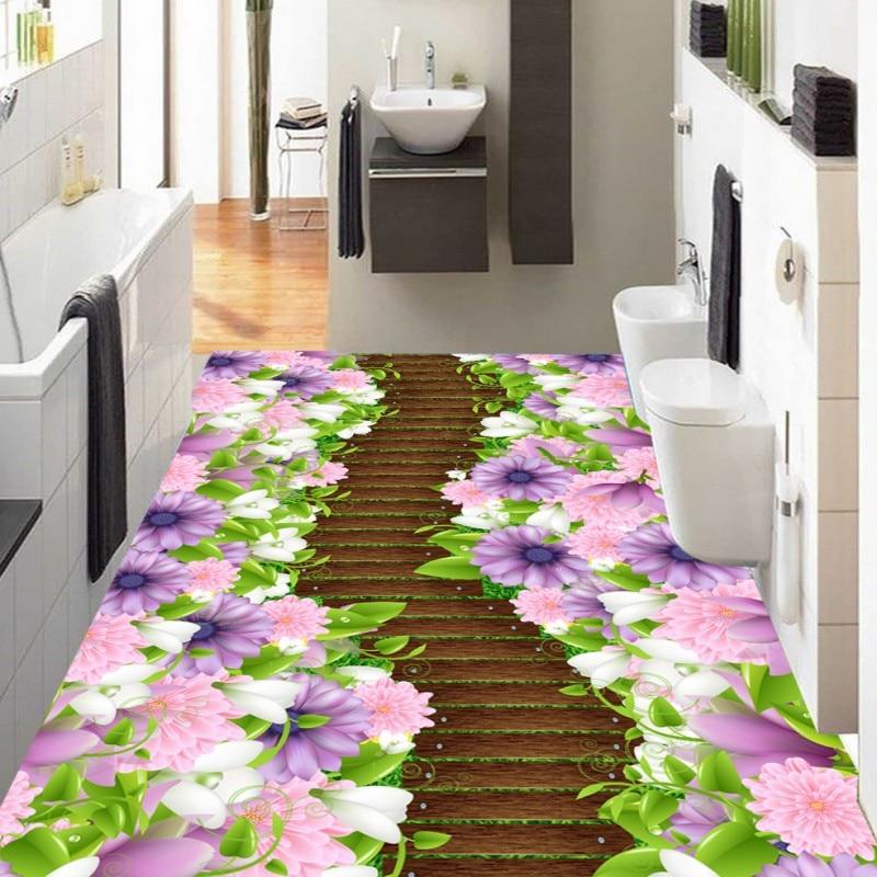 Free Shipping Flowers trees board path 3D stereo custom Toilets bathroom aisle Self-adhesive wallpaper mural flame trees of thika