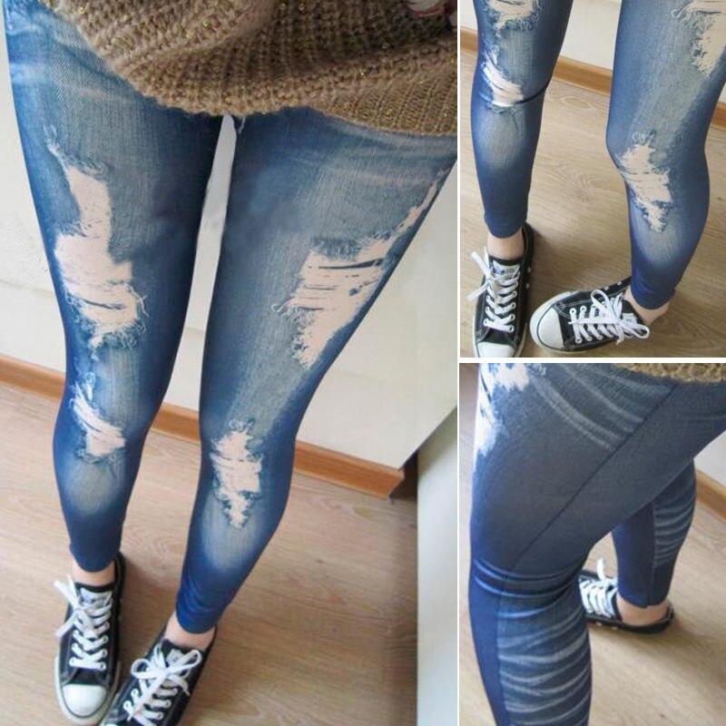 Denim Femmes Moyenne Skinny Pour Bleu Déchiré Jeans 2017 Pantalon Taille Offre Jegging Look Spéciale Collants oWQdrCBExe