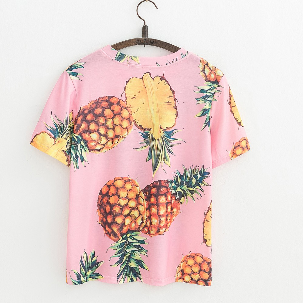 HTB17Sj QVXXXXXUXXXXq6xXFXXXS - Top Hot Sequined Print Pineapple Women t shirt Short Sleeve