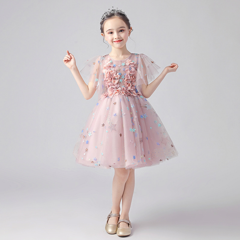 Sweet Floral Star Lace Knee Length Ball Gown   Flower     Girl     Dresses   For Wedding   Girls   First Communion Gowns Special Occasion   Dress