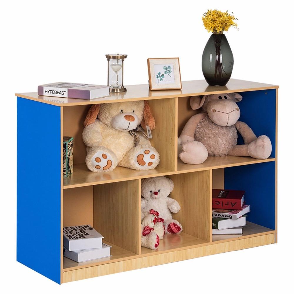 5 Compartment Storage Cabinet Bookcase Shelf Rack Organizer Kids Toy Box Modern Living Room Furniture HW59598