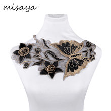 Misaya 1pc Gold Organza 3D Butterfly Flower Lace Neckline Fabric DIY Manual Collar Wedding Decoration Lace Fabrics Sewing Crafts(China)
