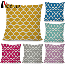 "Miracille Cotton Linen Quatrefoil Accent Pattern Decorative Throw Pillows Square Geometry Sofa Cushion 18X18"" 6 different colors"