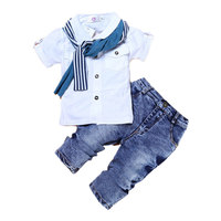 Boys Clothing Set Fashion Casual T Shirt Scarf Jeans 3pc Suits For Boys Summer Infant Vestido