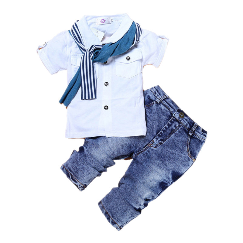 Boys Clothing Set Fashion Casual T-Shirt+Scarf+Jeans 3pcs Suits For Boys Summer Children Clothing Costume Tracksuit For Boys 2017 new boys clothing set camouflage 3 9t boy sports suits kids clothes suit cotton boys tracksuit teenage costume long sleeve
