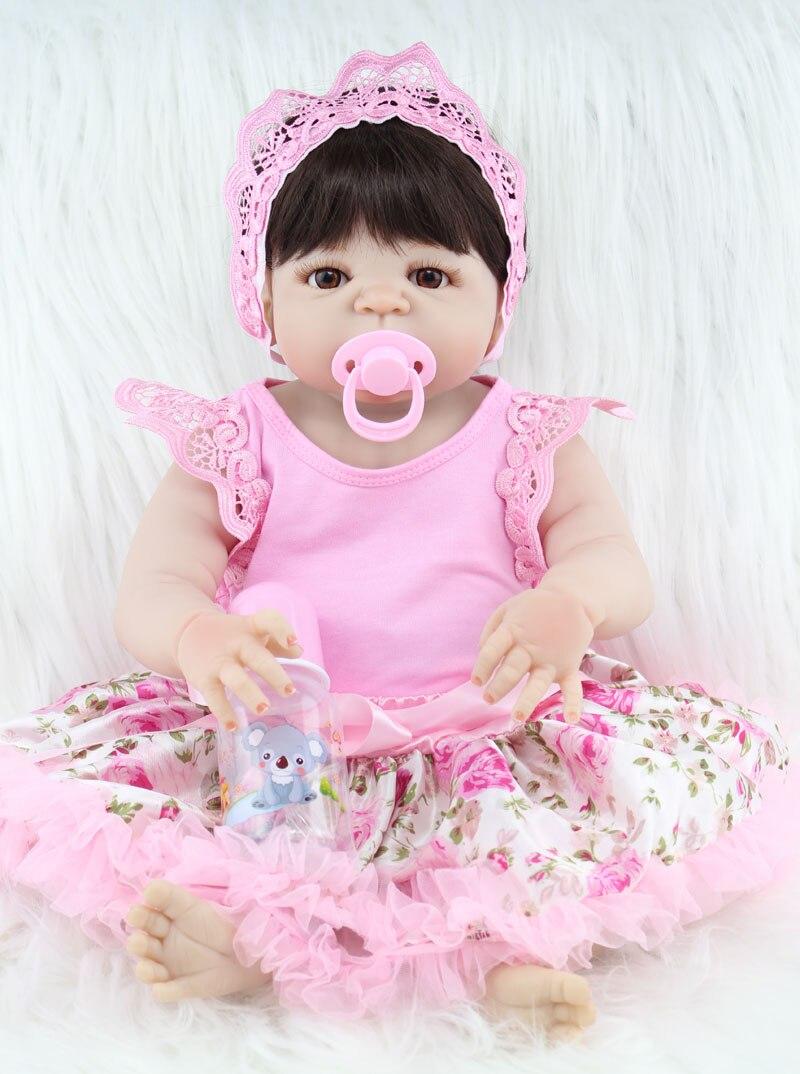 55 cm de cuerpo completo de silicona reborn baby girl doll toys realista recién