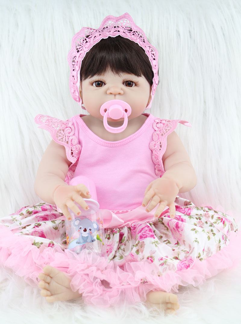 55cm Full body silicone reborn baby girl doll toys lifelike newborn princess babies doll child birthday gift kids bathe toy