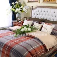 Estilo britânico outono e inverno de algodão 100% algodão 1.8 m xadrez escovado lixado quatro lençóis peças conjunto de cama de casal edredon