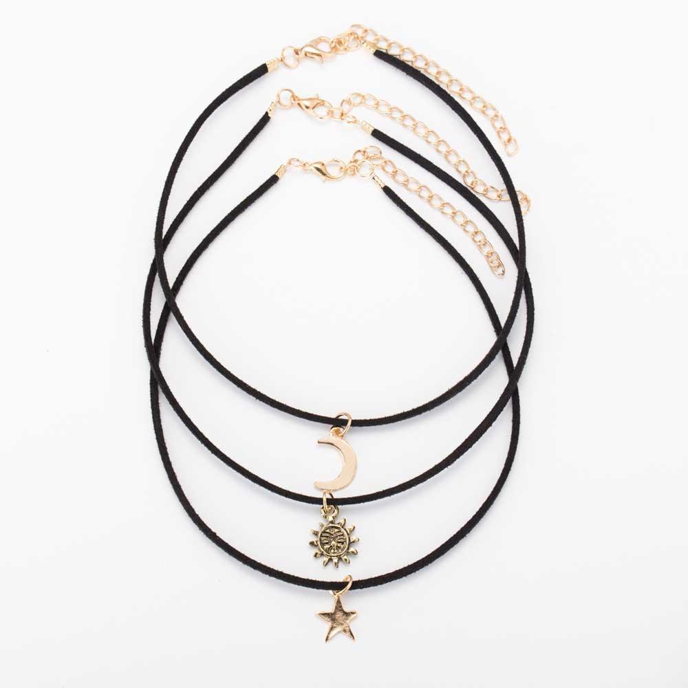 Tomtosh 3 Pcs Sets <font><b>Star</b></font> <font><b>Moon</b></font> <font><b>Sun</b></font> Chokers Necklaces Alloy Pendants Maxi Necklaces For Unisex Hot-selling Necklace Sets