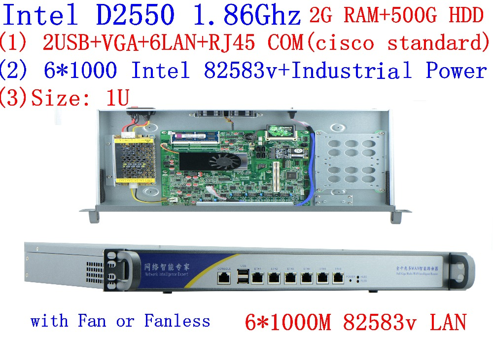 Hot Sell Intel ATOM D2550 1U Firewall With 6*InteL 82583V 1000M LAN Support Panabit Wayos ROS Mikrotik PFSense 2G RAM 500G HDD