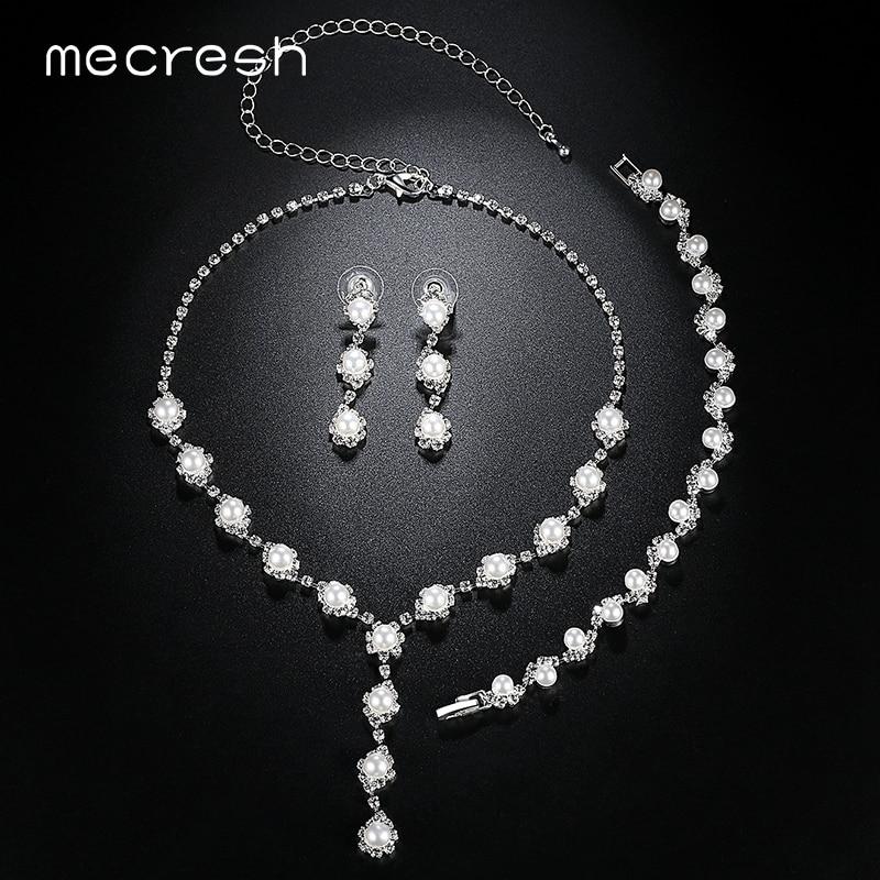Mecresh Simulated Pearl Bride häät korut setit yksinkertainen - Muotikorut - Valokuva 5