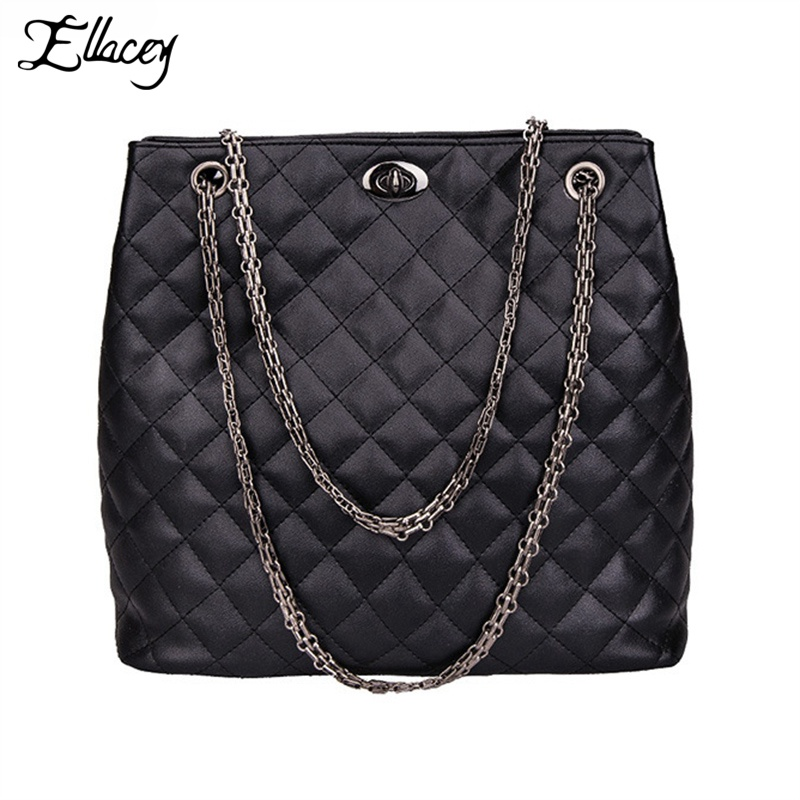 Ellacey 2016 Women Large Capacity Chain Strap Shoulder Bags Famous Brand 2016 European Style Pu Diamond Lattice Casual Tote Bag