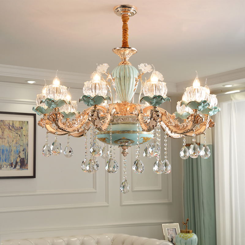 US $91.56 16% OFF|New Chinese Style Ceramics Chandelier Living Room Crystal  Lamps Dining Room Lights Duplex Stair Luxurious Zinc Alloy Chandeliers-in  ...