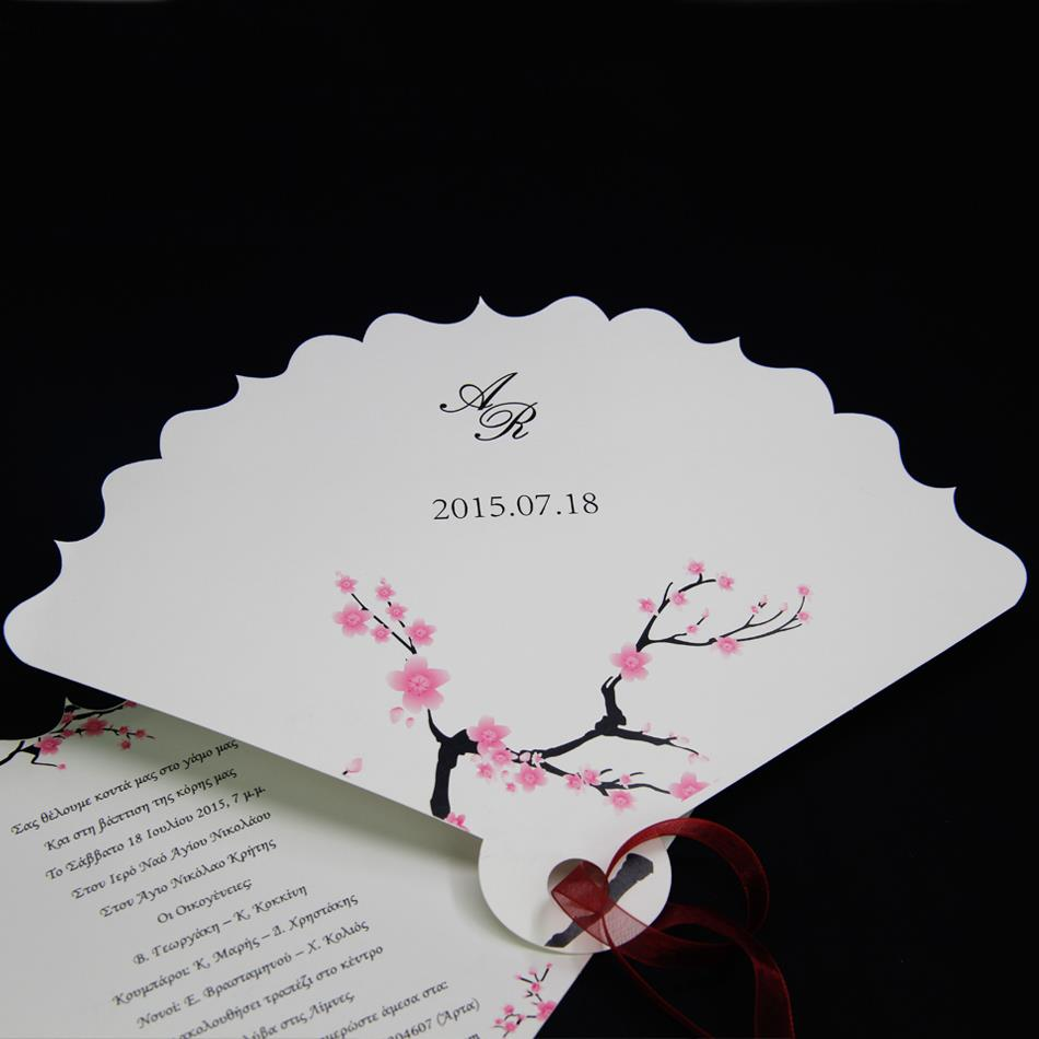 2015 DIY Laser Cut Elegant Fan Wedding Invitation Cards With Free Custom Printing Ribbon 50 PCS Shipping In Invitations From Home Garden