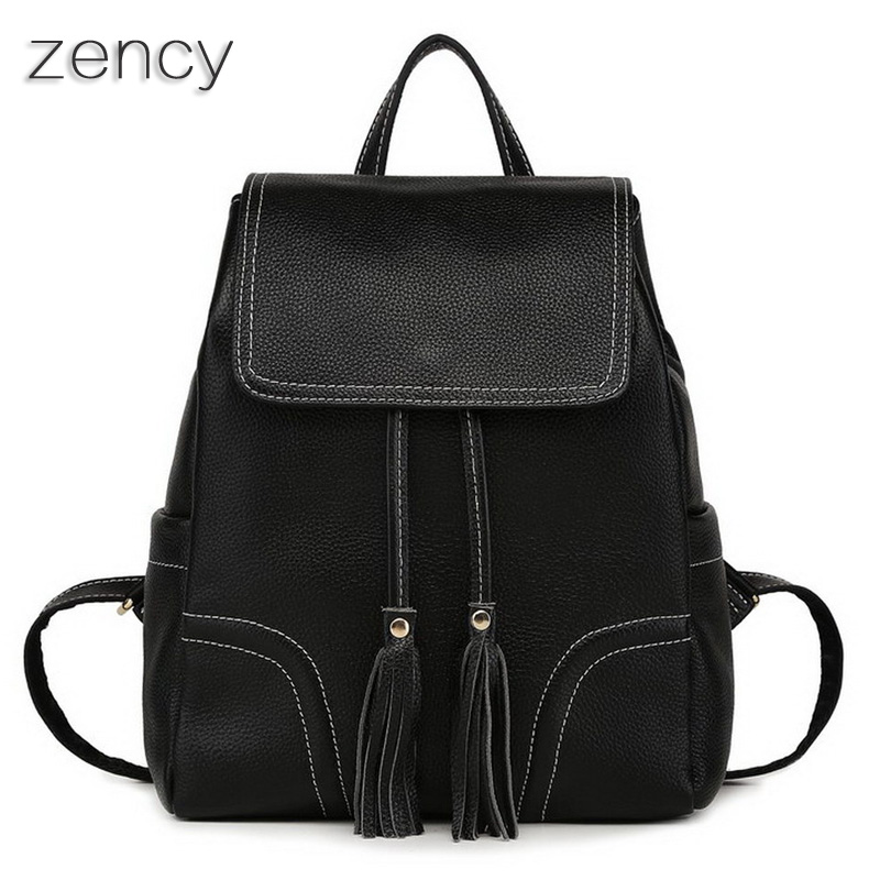 Zency Backpack Soft Genuine Leather Women s Backpacks Ladies Young Girl s Bags Top Layer Cowhide