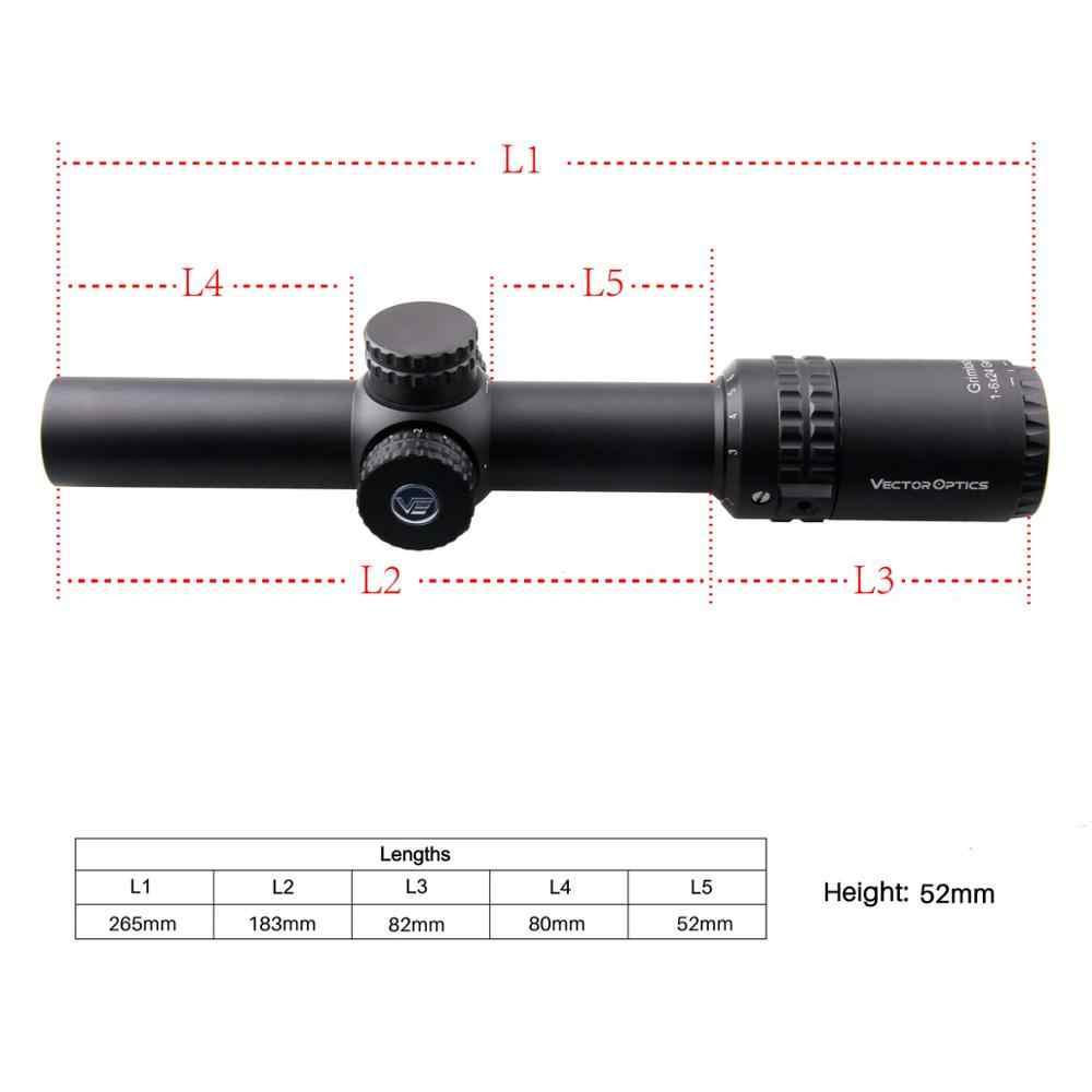 וקטור אופטיקה Gen2 Grimlock 1-6x24 BDC (מואה) בליסטי Reticle רובה היקף מרכז דוט מואר CQB Riflescope .223 AR15 .308