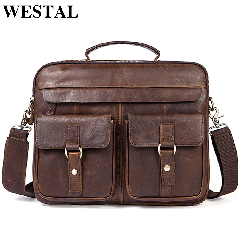 WESTAL Men <font><b>Bag</b></font> Crossbody <font><b>Bags</b></font> Casual Totes Leather Handbags <font><b>Messenger</b></font> Laptop <font><b>Bag</b></font> Genuine Leather Shoulder <font><b>Bags</b></font> Men Briefcases