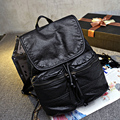 Корейский и Японский Стиль Моды ПУ Кожа Hasp Рюкзак Водонепроницаемый Подростковой Школы Сумки Твердые Сумка Женщины Повседневная Стильный Рюкзаки