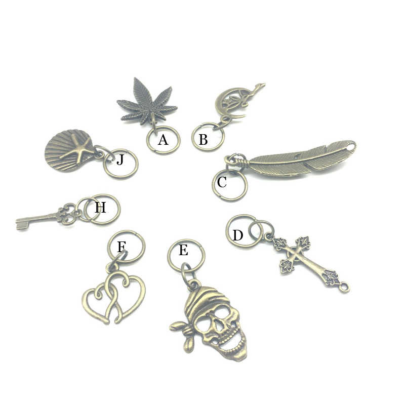Brozen anillo pelo Accessaries perlas 5 piezas por juego plata trenza del pelo Dreadlock perlas hoja 14mm pelo agujero puños dread tubo encanto