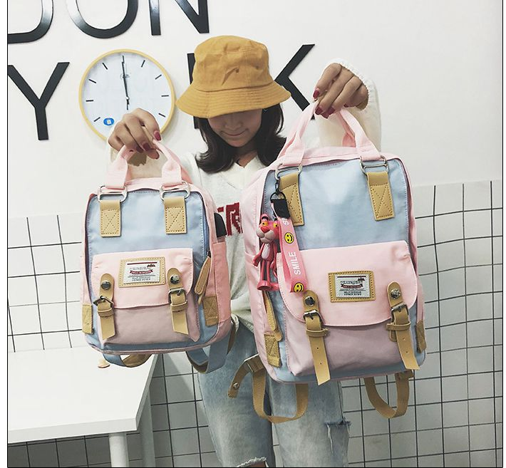 Oriental Element Unique Contrast Color Doughnut Fairy Fashion Casual Backpack With Usb Port School College Street Girls Backpack