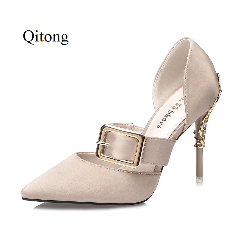 Qitong PU Woman Quality Thin High Heels Button Sandals Wedding and Nightclub Womens Shoes Heeled Sexy Metal Heels Comfortable the swimmind pool library